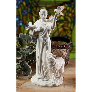 St. Francis and Friends of Forest Bonded Marble Resin Statue
