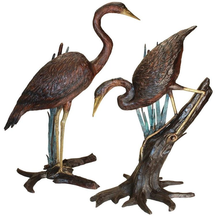 View larger image of Standing and Fishing Herons in Reeds Bronze Statues: Set of Two