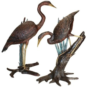 Standing and Fishing Herons in Reeds Bronze Statues: Set of Two