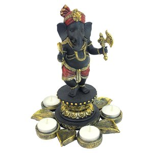 Standing Lord Ganesha on Lotus Flower Candle Holder Statue