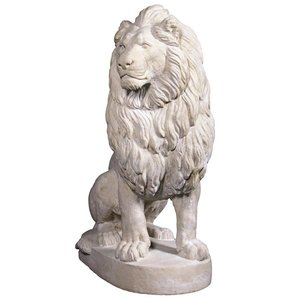 Stately Chateau Lion Sentinel Garden Statue: Left