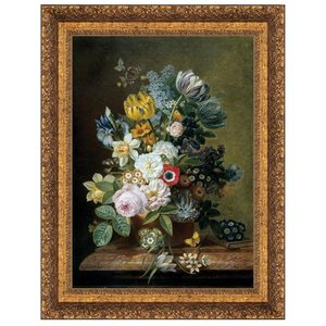 Still Life with Flowers, 1839: Canvas Replica Painting: Small