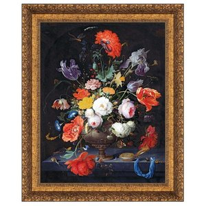 Still Life with Flowers and a Watch, 1679: Canvas Replica Painting: Grande