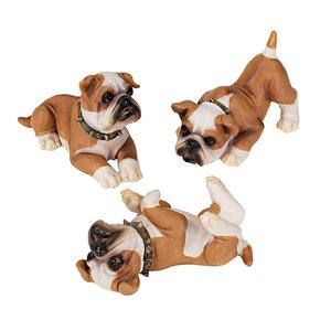 Stop, Drop and Roll British Bulldog Puppy Statues: Set of Six