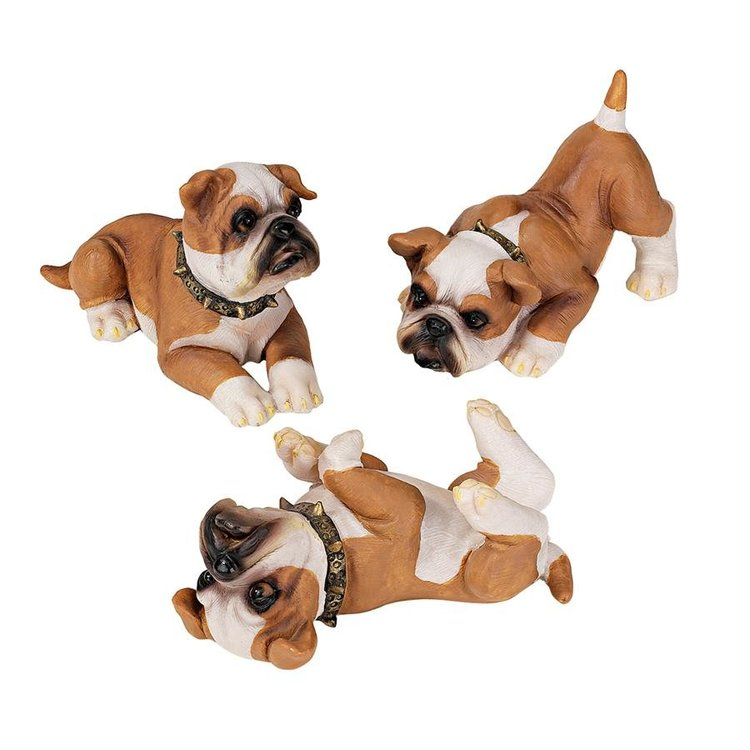 View larger image of Stop, Drop and Roll British Bulldog Puppy Statues: Set of Three