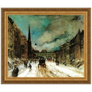 Street Scene with Snow, 1902: Canvas Replica Painting: Small