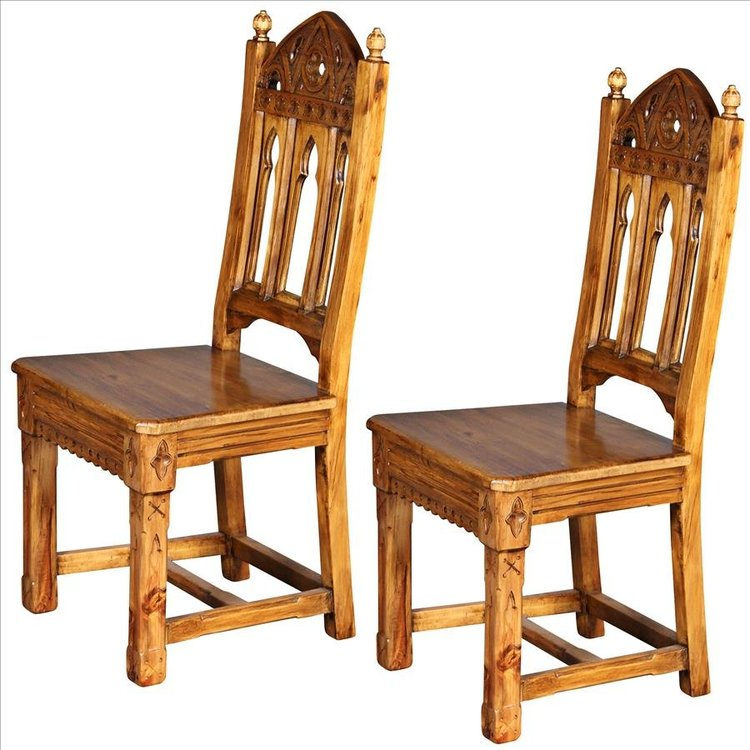 View larger image of Sudbury Hand-Carved Solid Pine Gothic Side Chair: Set of Two