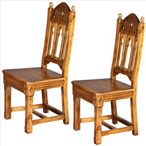 Sudbury Hand-Carved Solid Pine Gothic Side Chair