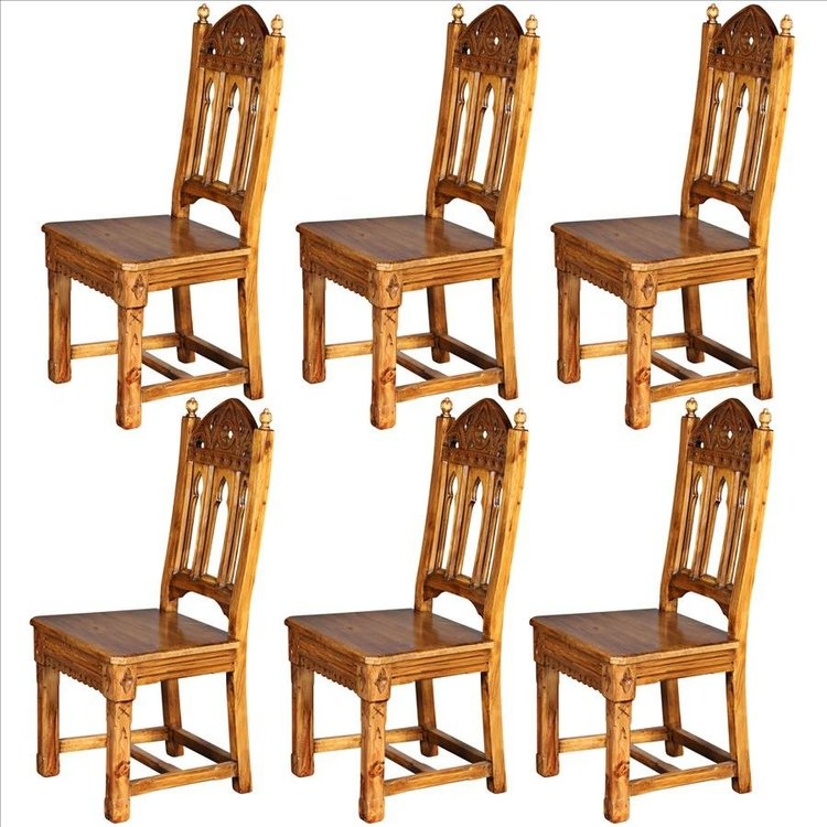 View larger image of Sudbury Hand-Carved Solid Pine Gothic Side Chair: Set of Six