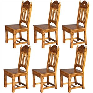 Sudbury Hand-Carved Solid Pine Gothic Side Chair: Set of Six