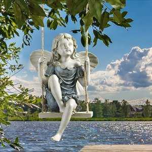 Summertime Fairy on a Swing Statue