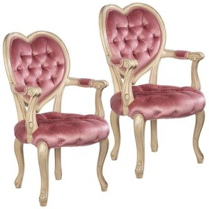Sweetheart Victorian Heart-Backed Armchair: Set of Two