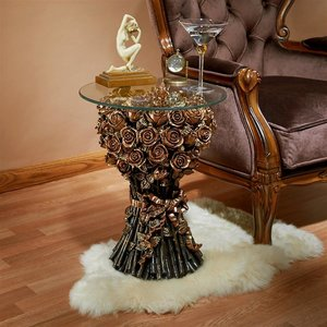 Table of Roses Glass-Topped Sculptural Table