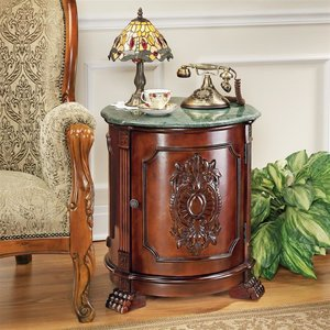Tambour Manor Marble-Topped Drum Accent Table