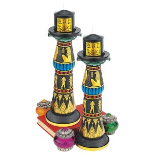 Temple of Rameses Sculptural Candleholder: Set of Two