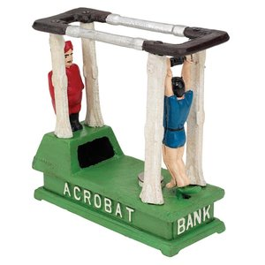 The Acrobat Die-Cast Iron Mechanical Coin Bank