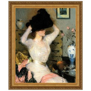 The Black Hat (Lady Trying on a Hat), 194 Canvas Replica Painting: Medium