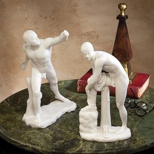 Le Gladiator Borghese and Hermes Greek Bonded Marble Statue Set