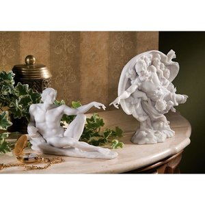 The Creation of Adam Bonded Marble Resin Statues: Complete Set