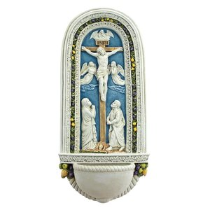 The Crucifixion of Jesus by Della Robbia Wall Font Sculpture