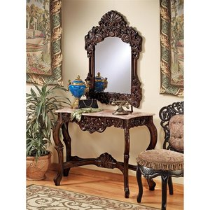 The Dordogne Marble-Topped Hardwood Console Table with Mirror