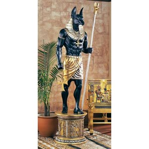 The Egyptian Grand Ruler Collection: Life-Size Anubis Statue atop a Temple Column Mount