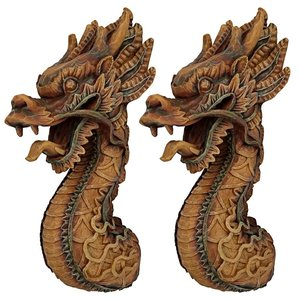 The Fire Dragon Wall Sculpture: Set of Two