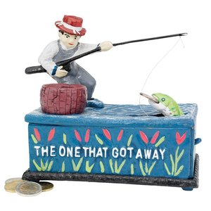 The Fisherman: The One that Got Away Collectors' Die-Cast Iron Mechanical Coin Bank