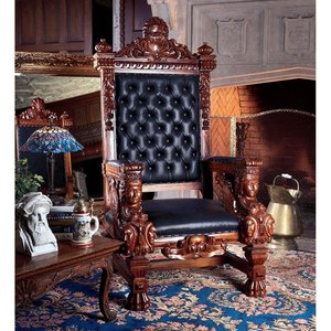 The Fitzjames Hand-Carved Solid Mahogany Throne Chair