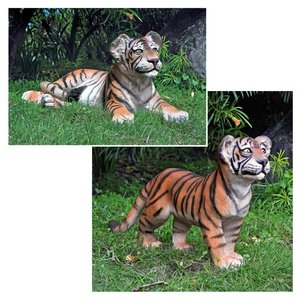 The Grand-Scale Tiger Cub Statues: Standing Cub & Lying Down Cub