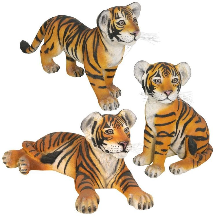 View larger image of The Grand-Scale Tiger Cub Statues: Set of Three