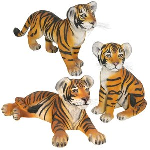 The Grand-Scale Tiger Cub Statues: Set of Three