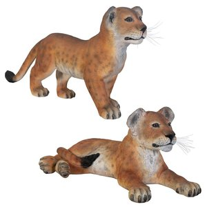 The Grande-Scale Lion Cub Statue Set: Standing and Lying Down