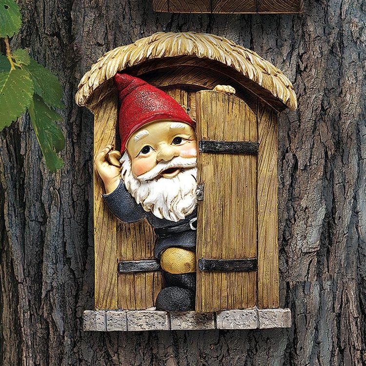 View larger image of The Knothole Gnomes Garden Welcome Tree Sculptures