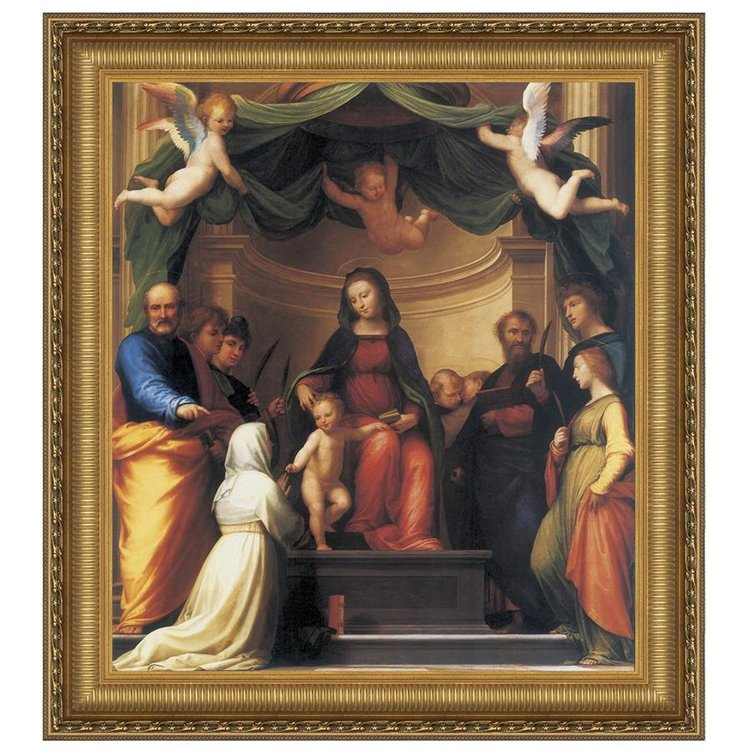 View larger image of The Mystic Marriage of St. Catherine of Siena with Eight Saints, 1511: Large