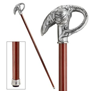 The Padrone Collection: Art Nouveau Swan Pewter Walking Stick
