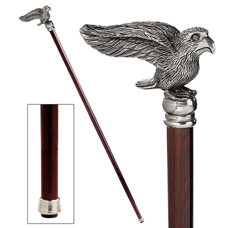 View larger image of The Padrone Collection: Bird Pewter Walking Stick
