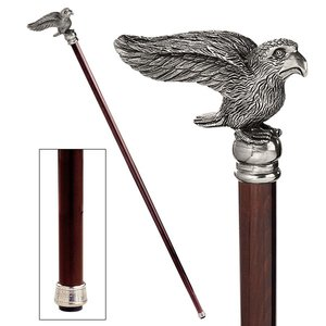 The Padrone Collection: Bird Pewter Walking Stick