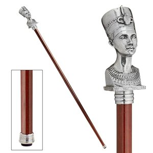 The Padrone Collection: Bust of Egyptian Queen Nefertiti Pewter Walking Stick