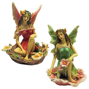 The Red and Green Fairy of Acorn Hollow Statues: Set of Two