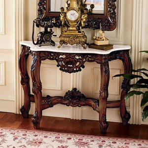 The Royal Baroque Marble-Topped Hardwood Console Table