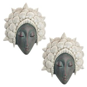 The Seashell Maiden Mermaid Wall Sculpture: Set of Two