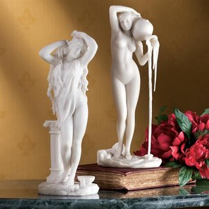 Set of The Source and Aphrodite Bonded Marble Statues