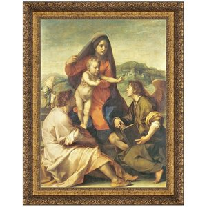 The Virgin and Child with a Saint and an Angel, 159-14: Canvas Replica Painting: Large