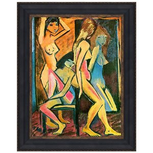 Three Nudes Before the Mirror, 1912: Canvas Replica Painting: Large