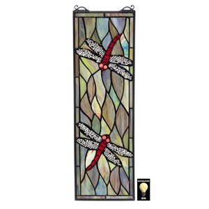 Tiffany Style Dragonfly Stained Glass Window