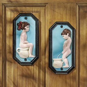 Tinkle Twins Bathroom Cast Iron Restroom Wall Plaques