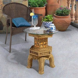 Tranquil Pagoda Illuminated Glass-Topped Table