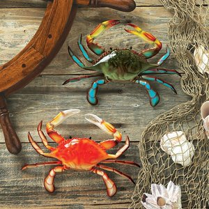 Tropical Crabs Wall Sculptures: Set of Two