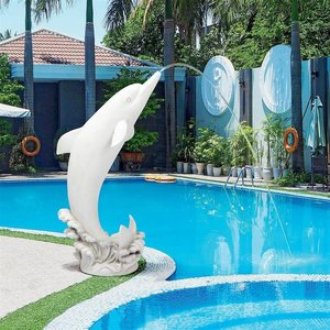 Tropical Tale Leaping Dolphin Piped Garden Statue: Medium